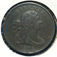 1808 1/2C Draped Bust Half Cent, C-3, R-1, w/ Die Rotaion (55054)