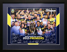 NORTH QLD COWBOYS 2015 RUGBY LEAGUE PREMIERS SIGNED FRAMED MEMORABILIA POSTER