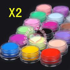 Wholesale 36pcs Colored Acrylic Powder Dust Nail Art Tips UV Polish Decor Kits