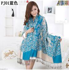 Fashion Women's New Blue 100% Cashmere Pashmina Soft Warmer Wrap Shawl Scarf