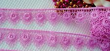 Very pretty Rose Pink  floral embroidered lace trim - price for 1 yard