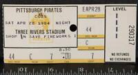 Vintage Pittsburgh Pirates Ticket Stub Three Rivers Stadium April 28 1984 tob