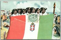 MULTIPLE BABIES w/ ITALIAN FLAG ANTIQUE POSTCARD w/ STAMP