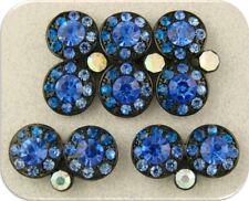 2 Hole Beads Double Wheels Capri & Sapphire Swarovski Crystal Elements QTY 5