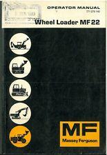 Massey Ferguson MF22 Wheel Loader Operators Manual - MF 22
