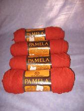 4 Skeins Lion Brand Pamela Brick Orange Pumpkin Acrylic Worsted Weight Easy Pull