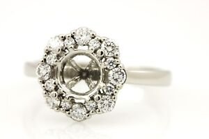 platinum 6.5mm diamond 0.36ctw double halo engagement ring semi mount size 5.5