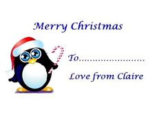 21 Personalised Christmas Stickers Round 3for2 Penguin Labels Xmas Label Card
