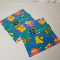 Vintage Mickey Mouse Neon Wrapping Paper New 2 Packs 4 Sheets Total Cleo USA