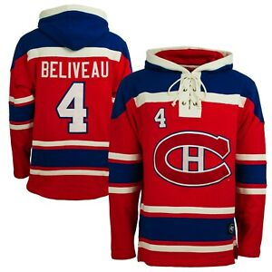 Jean Beliveau 47 Brand Hockey Lacer Jersey Hoodie! Old Time Hockey Mtl Canadiens