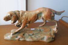 Majolica DOG by Bernhard Bloch,Signed Th. Schoop luster art nouveau ceramic