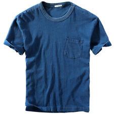 Hommes T-Shirt Coton Mélange Rétro Délavé Court Manche Décontracté Standard Fit