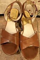 EUC Michael Kors Leather Open Toe Crossover Platform Wedge Size 9.5M