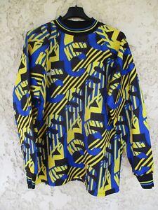 Maillot goal PUMA 90'S vintage trikot keeper shirt bleu noir jaune maglia L