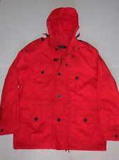 $495 NWT Authentic Polo Ralph Lauren Men's Red Waxed Cotton Rain ANORAK Jacket,L