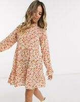 Wednesday's Girl Dress Smock Tie Neck Floral UK XXS 6,XS 8 & S 10 Oversized GA02