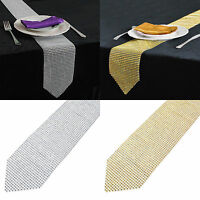 12*275cm Sparkly Diamond Mesh Rhinestone Table Runner Wedding Table Cover Cloth