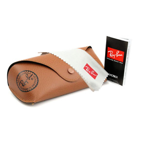 NEW RAY BAN Brown Leather Sunglass Glasses Case Only Booklet & Cleaning Cloth