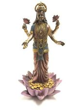 Lakshmi Hindu Goddess on Lotus Statue Sculpture Display Figure WE SHIP WORLDWIDE