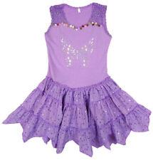 Vestidos de niña de 2 a 16 años de color principal morado poliéster sin mangas