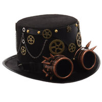 Vintage Gothic Steampunk Gear Stud Black Top Hat Party Costume Spike Goggle Hat