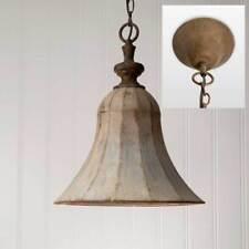 Vintage Rustic Primitive Distressed Gray Bell Pendant Hanging Light Fixer Upper