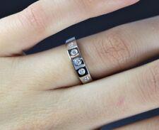 PLATINO 0.20ct Diamante Redondo 4.3mm Alianza Anillo Aniversario Talla 6