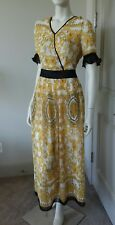 Misslook short ruffled sleeve maxi dress yellow white black sz 4 S NWT