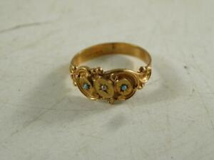 Antique Victorian 10K Solid Yellow Gold Turquoise Seed Pearl Ladys Cocktail Ring