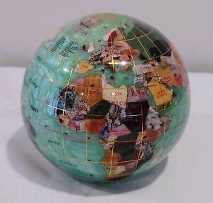 """INLAY GEMSTONE GREEN GLOBE WORLD PAPERWEIGHT 4"""" KALIFANO"""