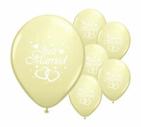 """20 JUST MARRIED IVORY 12"""" HELIUM QUALITY PEARLISED WEDDING BALLOONS"""
