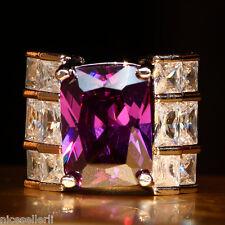 Huge Purple Sapphire Birthstone 925 Silver Filled Wedding Bridal Ring Set Size 9