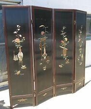 Black Lacquer  Carved Stone, Painted, Oriental 4-Panel Screen - Vintage
