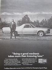 5/1972 PUB CHAMPION SPARK PLUGS BOUGIES CHEVY EL CAMINO MIKE TODD DENVER AD