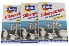 3 Stück Delu Silberputztuch  mit Anlaufschutz , spezialimprägniert