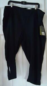 Black Tek Gear Athletic Mid Rise Capri Stretch Pants Size 3X NWT New $36