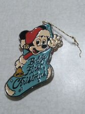 Vintage Disney Mickey Mouse Baby's First Christmas Acrylic Ornament 1984