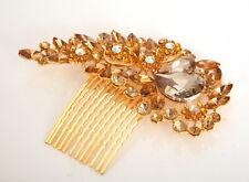 Amber Brown Diamante Crystal Jewel Wedding Bridal Hair Clip Piece Comb