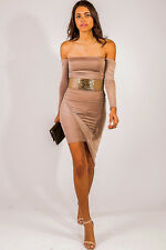 Sexy Women's Club Dress High low Drape hem BodyCon  off shoulder Shiny S M L