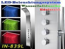 839L LED Edelstahl Duschpaneel,  DUSCHSÄULE, Wasserfall, REGENDUSCHE, Paneel NEU