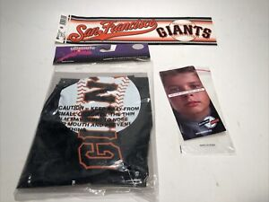 San Francisco Giants Baseball Souvenir SGA Lot : Pin / Air Bat / Bumper Sticker