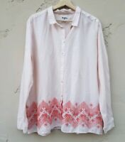 Holding Horses Anthropologie Womens Mayflower Button Down Shirt Top Size 16 Pink