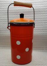 Vtg old Russian USSR Enamel Milk Can Retro Container Kitchenware 1970s
