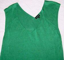 Jaeger Silk Knit Top V neck bright green jersey sleeveless 100% silk Size L vgc