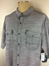 New Men's Black Jack Gray Short Sleeve Button Front Casual Shirt Size 4XL