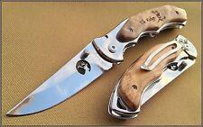 Couteau Elk Ridge Maple Frame Lame Acier 440 Manche Bois ER519