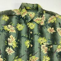 Joe Marlin Button Up Shirt Men's Large Short Sleeve Green Floral Hawaiian