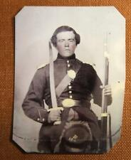 Civil War Union Soldier Musket and Sword RP tintype C1159RP