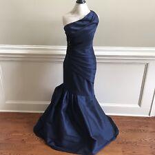 NEW ML Monique Lhuillier Dress Gown Womens 8 Navy Sleeveless One Arm Trumpet