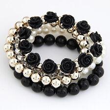 Women Multi-layer Rose Flower Pearl Rhinestone Beaded Elastic Bracelet Jewelry
